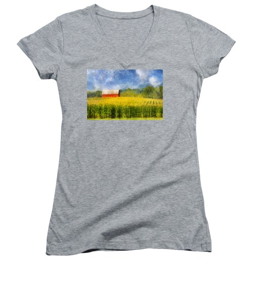 Women's V-Neck T-Shirt (Junior Cut) featuring the digital art Barn And Cornfield by Francesa Miller