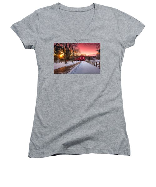 Barn At Sunset  Women's V-Neck T-Shirt (Junior Cut) by Emmanuel Panagiotakis