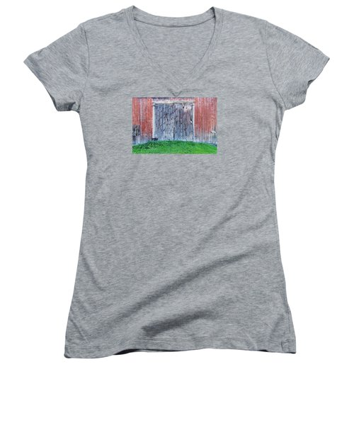 Women's V-Neck T-Shirt (Junior Cut) featuring the photograph Barn Door by Tom Singleton