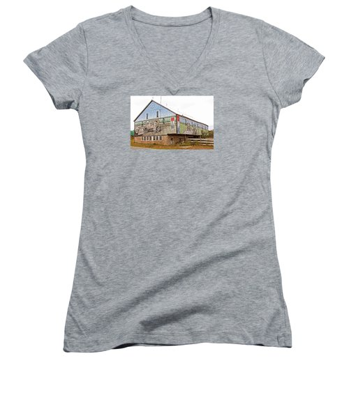 Women's V-Neck T-Shirt (Junior Cut) featuring the photograph Barn In Bedford by Trina  Ansel