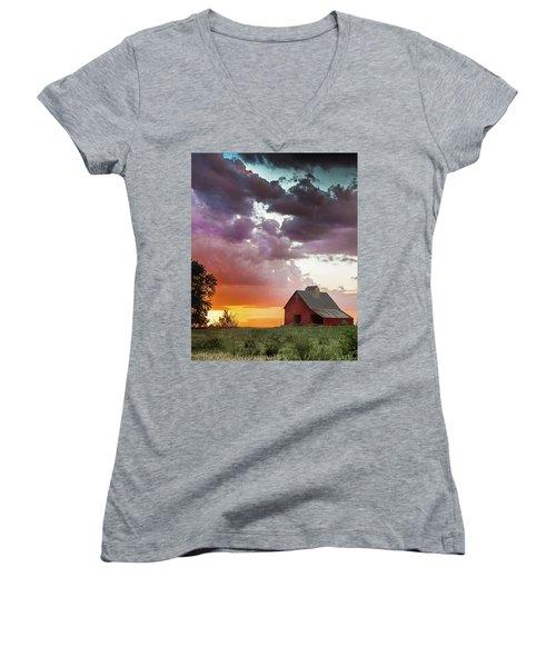 Barn In Stormy Skies Women's V-Neck T-Shirt (Junior Cut) by Dawn Romine