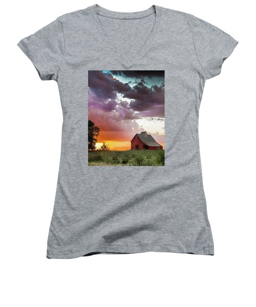 Barn In Stormy Skies Women's V-Neck