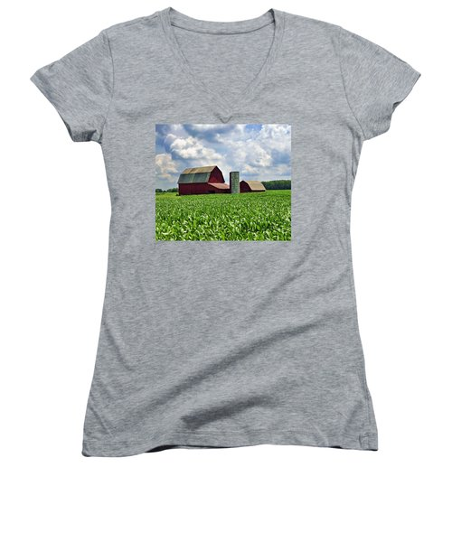 Barn In The Corn Women's V-Neck (Athletic Fit)