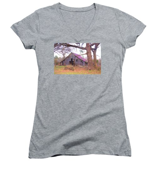 Women's V-Neck T-Shirt (Junior Cut) featuring the photograph Barn In The Valley by Susan Crossman Buscho