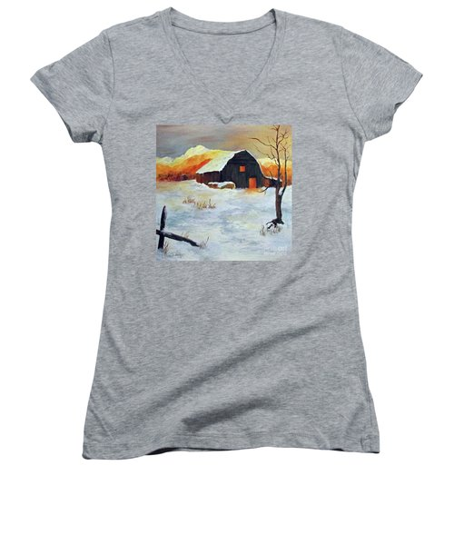 Barn In Winter Women's V-Neck (Athletic Fit)