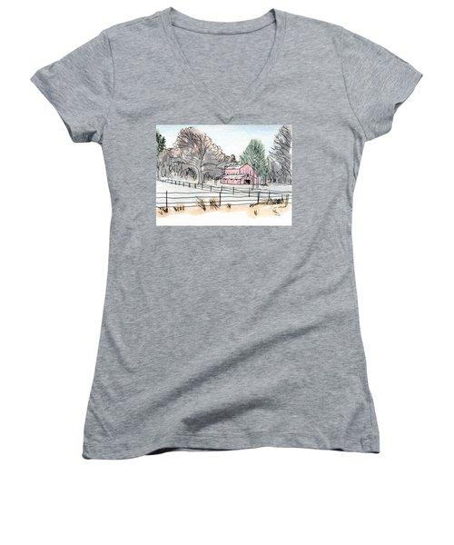 Barn In Winter Woods Women's V-Neck T-Shirt (Junior Cut) by R Kyllo