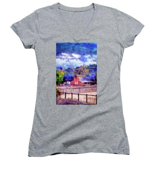 Barn On Ca Highway 154 Women's V-Neck T-Shirt