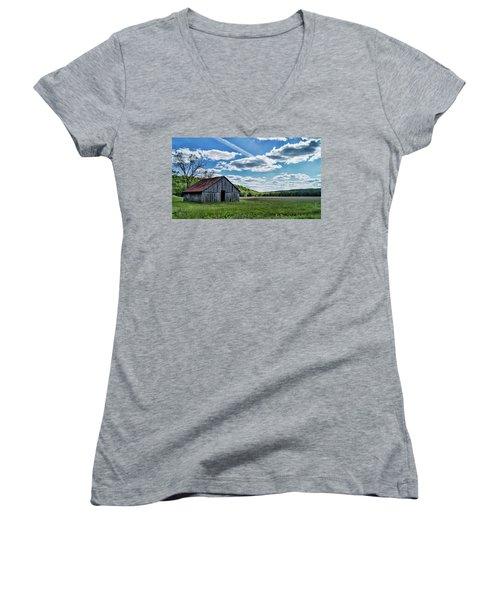 Women's V-Neck T-Shirt (Junior Cut) featuring the photograph Barn On Cedar Creek Bottoms by Cricket Hackmann