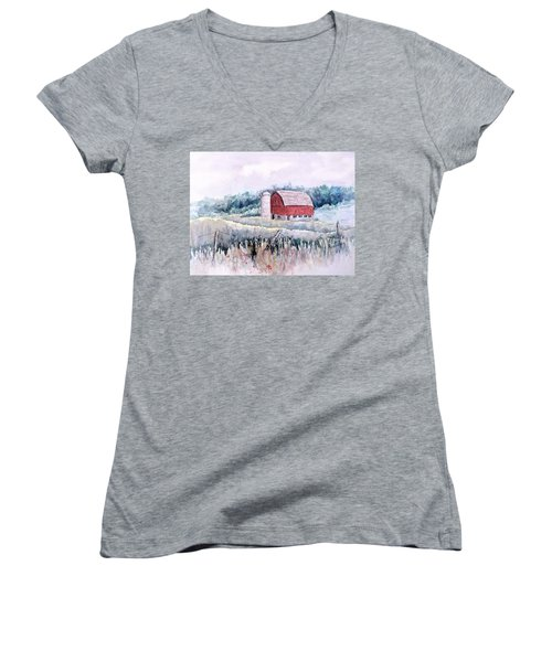 Barn On Weinman Road Women's V-Neck (Athletic Fit)