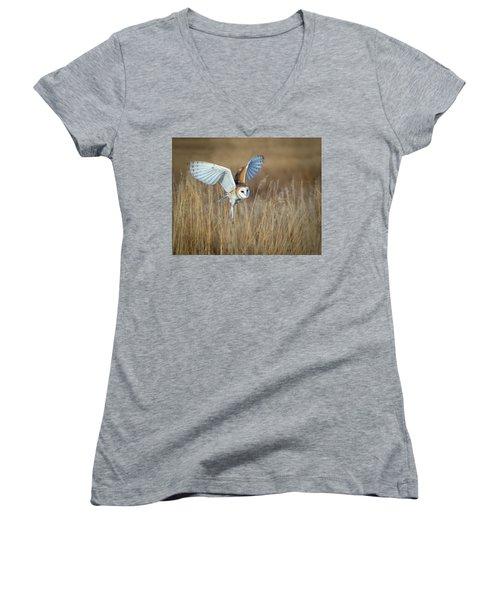 Barn Owl In Grass Women's V-Neck