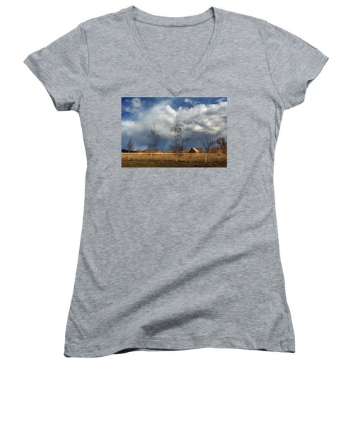 Women's V-Neck T-Shirt (Junior Cut) featuring the photograph Barn Storm by James Eddy
