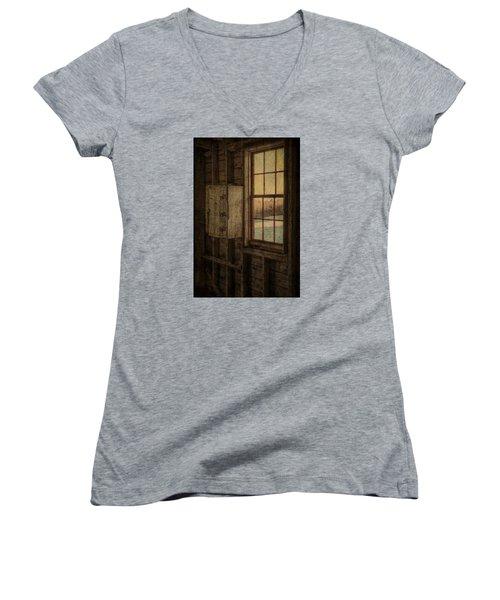 Barn Window Women's V-Neck T-Shirt (Junior Cut) by Tom Singleton