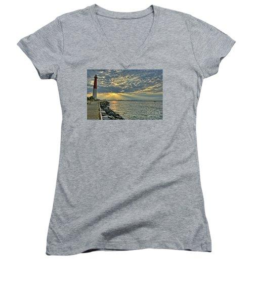 Barneget Lighthouse  New Jersey Women's V-Neck