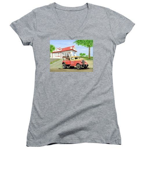 Barnett Garage Women's V-Neck T-Shirt