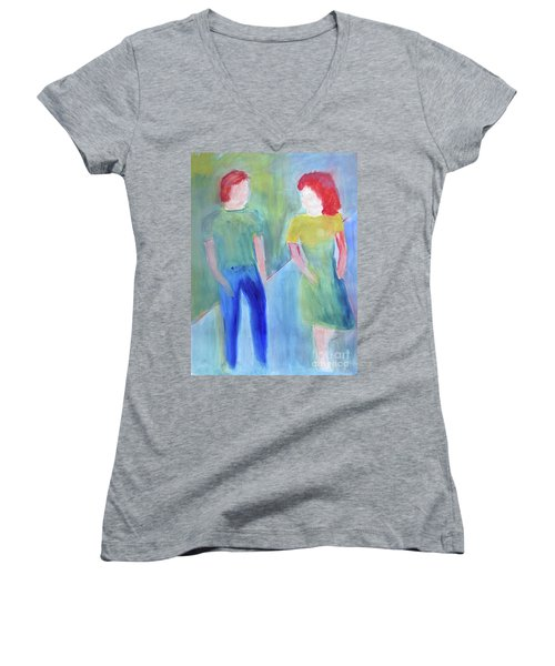 Women's V-Neck T-Shirt (Junior Cut) featuring the painting Barney And Elizabeth by Sandy McIntire