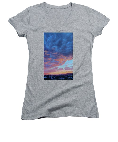 Women's V-Neck T-Shirt (Junior Cut) featuring the painting Barnsdall Hill by Andrew Danielsen