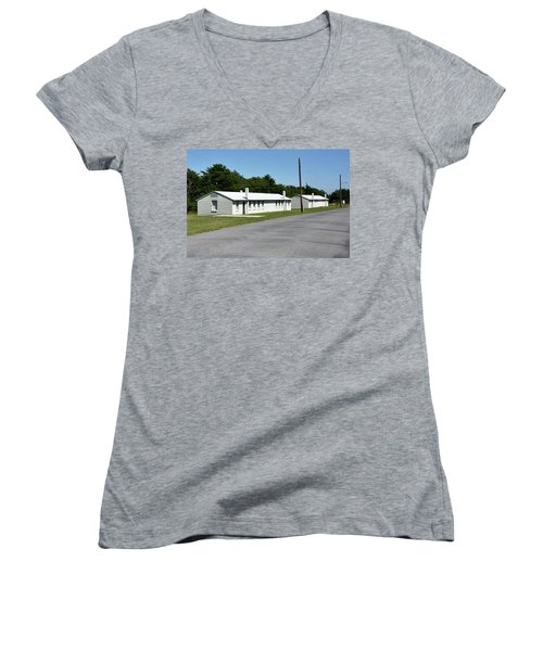 Women's V-Neck T-Shirt (Junior Cut) featuring the photograph Barracks At Fort Miles - Cape Henlopen State Park by Brendan Reals