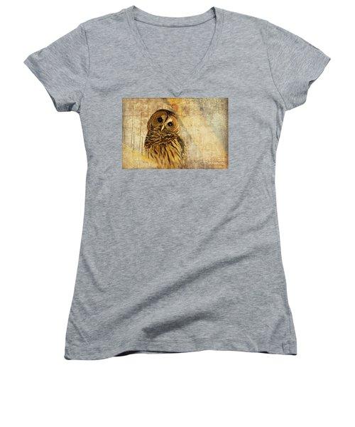 Barred Owl Women's V-Neck T-Shirt (Junior Cut) by Lois Bryan