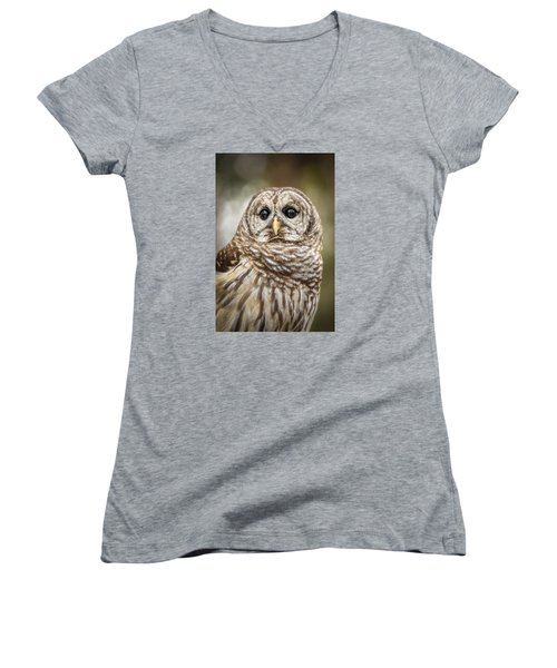 Women's V-Neck T-Shirt featuring the photograph Hoot by Steven Sparks