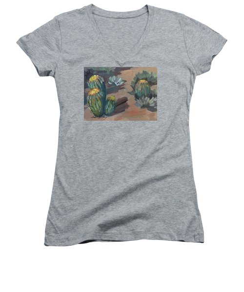 Women's V-Neck T-Shirt (Junior Cut) featuring the painting Barrel Cactus At Tortilla Flat by Diane McClary