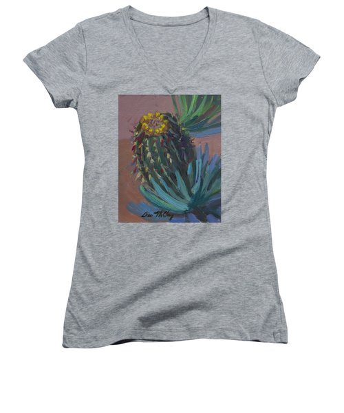 Barrel Cactus In Bloom - Boyce Thompson Arboretum Women's V-Neck T-Shirt (Junior Cut) by Diane McClary