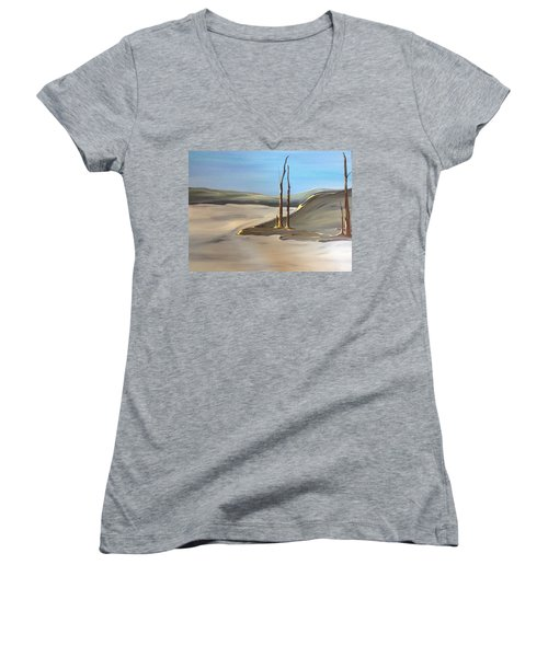 Women's V-Neck T-Shirt (Junior Cut) featuring the painting Barren by Pat Purdy