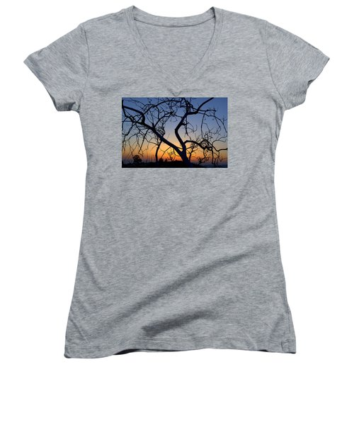 Women's V-Neck T-Shirt (Junior Cut) featuring the photograph Barren Tree At Sunset by Lori Seaman