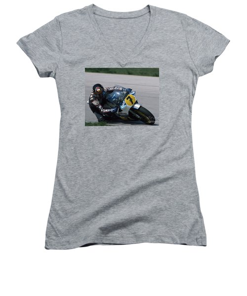 Barry Sheene. 1984 Nations Motorcycle Grand Prix Women's V-Neck (Athletic Fit)