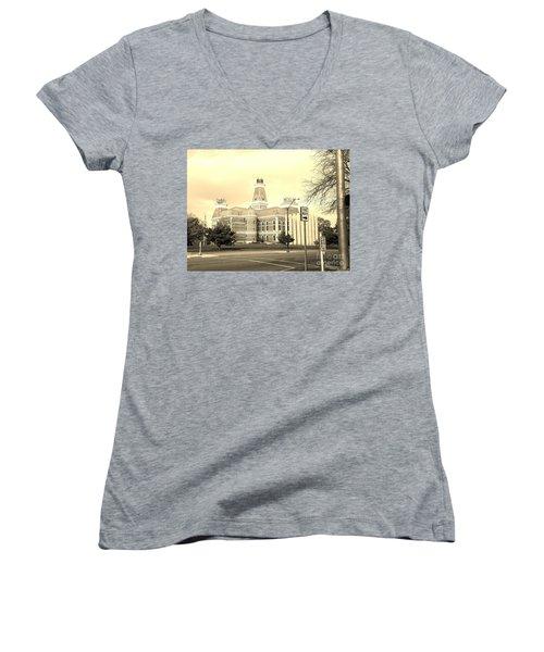 Bartholomew County Courthouse Columbus Indiana - Sepia Women's V-Neck T-Shirt (Junior Cut) by Scott D Van Osdol