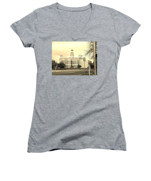 Bartholomew County Courthouse Columbus Indiana - Sepia Women's V-Neck T-Shirt