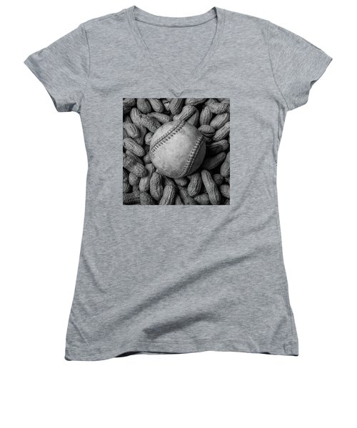Women's V-Neck T-Shirt (Junior Cut) featuring the photograph Baseball And Peanuts Black And White Square  by Terry DeLuco