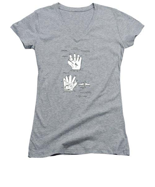 Baseball Glove 1921 Patent Women's V-Neck T-Shirt