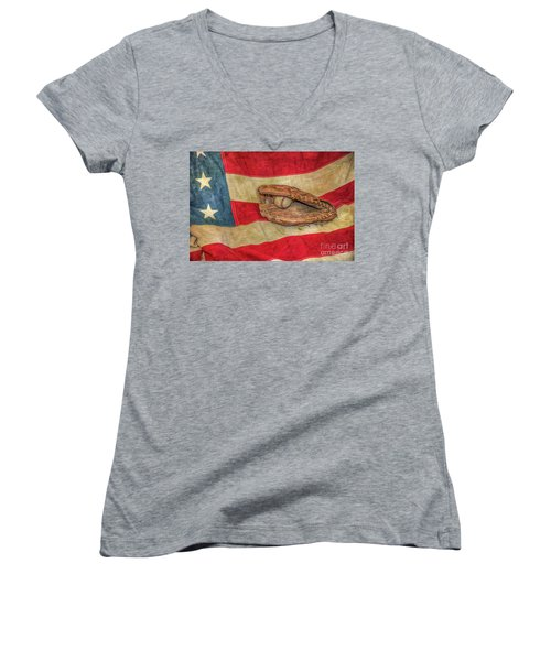Baseball Glove And Ball On Us Flag Women's V-Neck (Athletic Fit)
