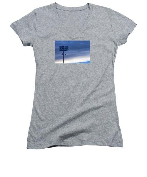 Women's V-Neck T-Shirt (Junior Cut) featuring the photograph Baseball Lights by Joan Bertucci