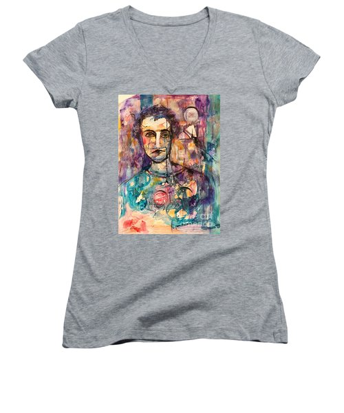 Women's V-Neck T-Shirt (Junior Cut) featuring the painting Baseball Player by Ellen Anthony