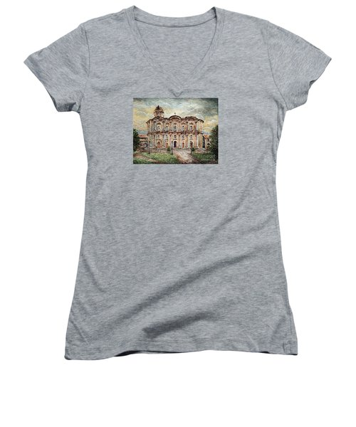 Basilica De San Martin De Tours Women's V-Neck T-Shirt (Junior Cut) by Joey Agbayani
