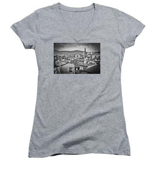 Women's V-Neck T-Shirt (Junior Cut) featuring the photograph Basilica Di Santa Croce by Sonny Marcyan