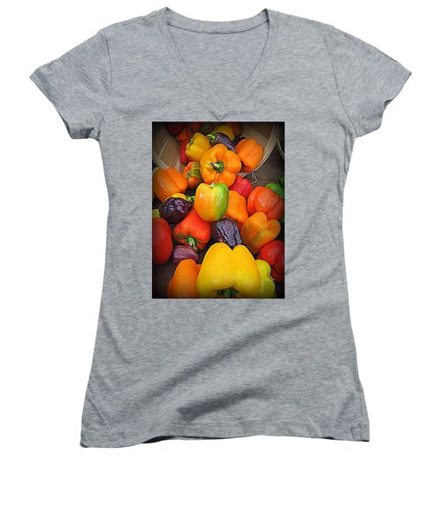Basket Full O'peppers Women's V-Neck T-Shirt