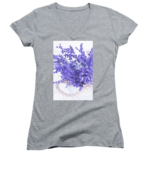 Basket Of Lavender Women's V-Neck T-Shirt (Junior Cut) by Stephanie Frey