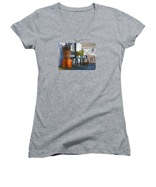 Women's V-Neck T-Shirt (Junior Cut) featuring the photograph Basket Porch by Betsy Zimmerli