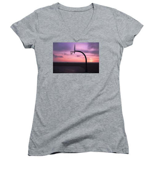 Basketball Court At Sunset Women's V-Neck (Athletic Fit)