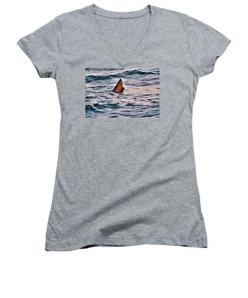 Basking Shark In July Women's V-Neck (Athletic Fit)
