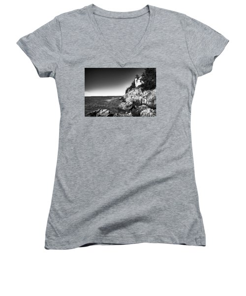 Bass Harbor Head Lighthouse Women's V-Neck T-Shirt