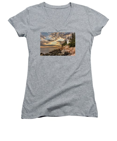 Bass Harbor Head Lighthouse Sunset Women's V-Neck (Athletic Fit)