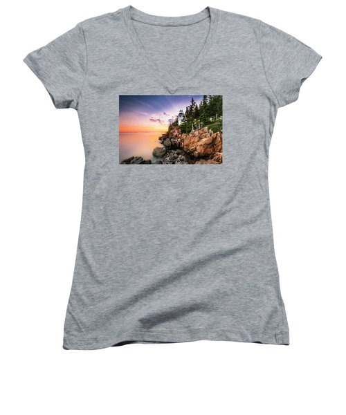 Women's V-Neck T-Shirt (Junior Cut) featuring the photograph Bass Harbor Lighthouse Sunset by Ranjay Mitra