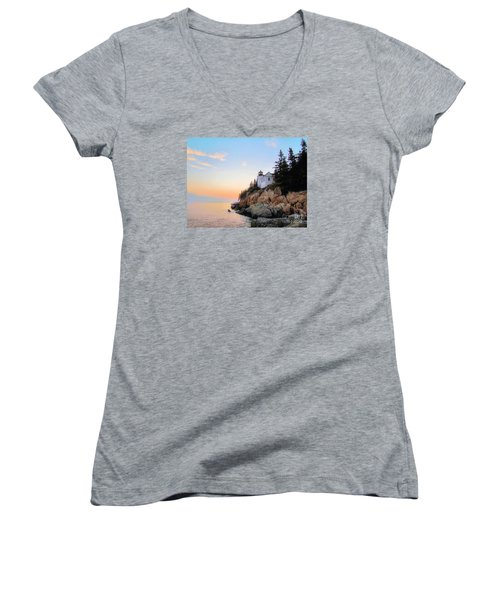 Bass Harbor Sunset II Women's V-Neck T-Shirt