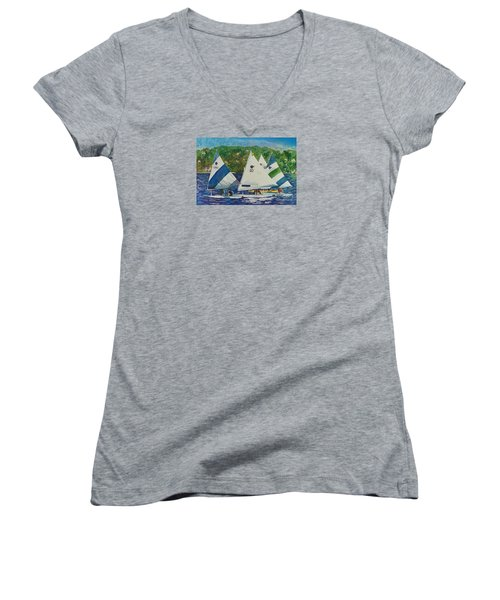 Women's V-Neck T-Shirt (Junior Cut) featuring the painting Bass Lake Races  by LeAnne Sowa