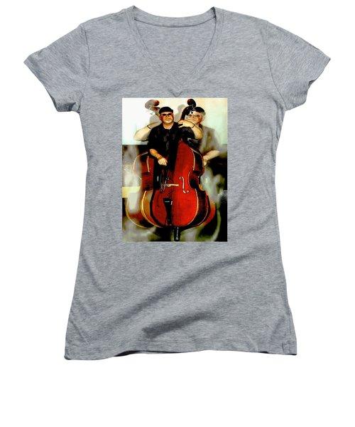 Bassman Women's V-Neck T-Shirt (Junior Cut) by Sadie Reneau
