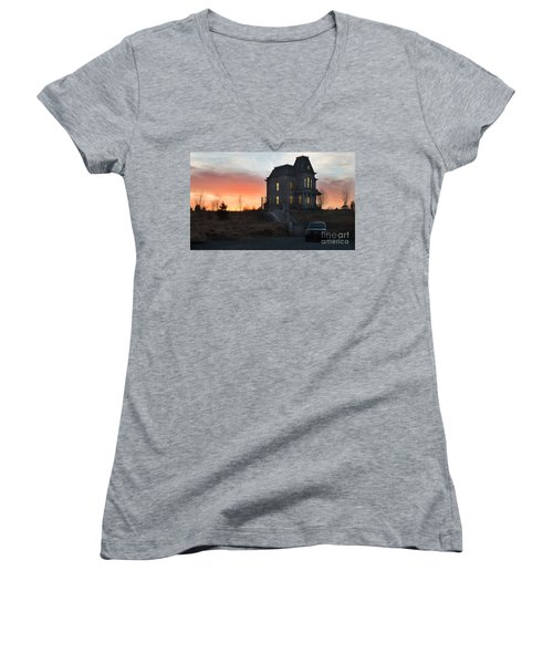 Bates Motel At Night Women's V-Neck T-Shirt (Junior Cut) by Jim  Hatch