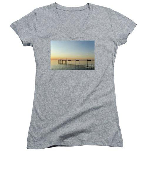 Women's V-Neck T-Shirt (Junior Cut) featuring the photograph Bath Pier Silhouette by Kennerth and Birgitta Kullman